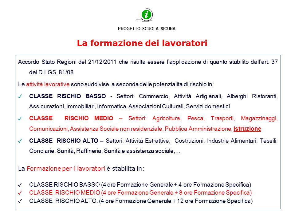 La formazione dei lavoratori Accordo Stato Regioni del 21/12/2011 che risulta essere l'applicazione di quanto stabilito dall'art. 37 del D.LGS. 81/08
