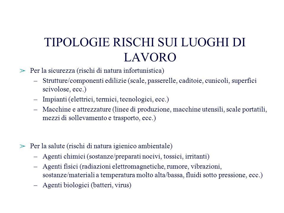 TIPOLOGIE RISCHI SUI LUOGHI DI LAVORO ➢ Per la sicurezza (rischi di natura infortunistica) –Strutture/componenti edilizie (scale, passerelle, caditoie