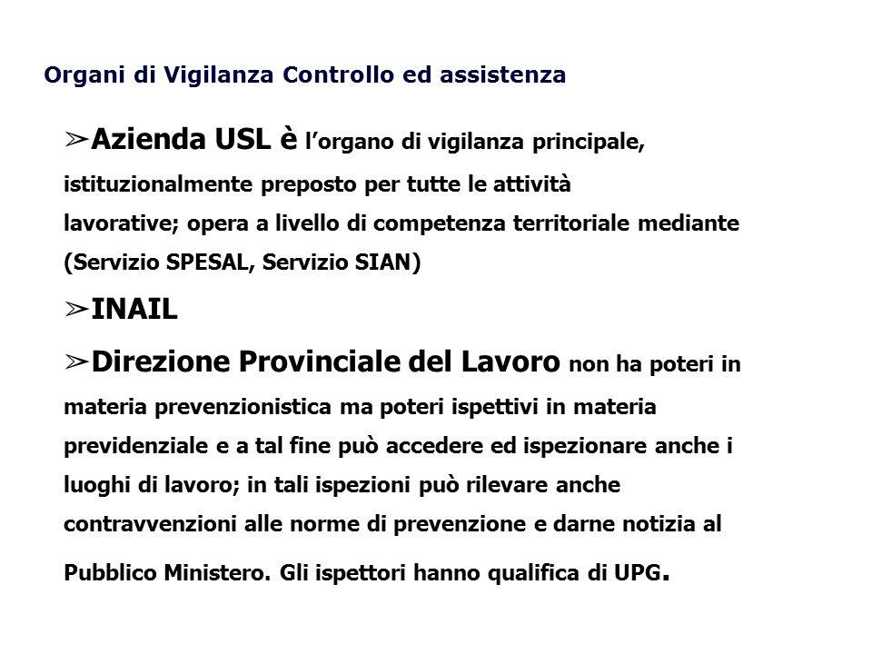 ➢ Azienda USL è l'organo di vigilanza principale, istituzionalmente preposto per tutte le attività lavorative; opera a livello di competenza territori
