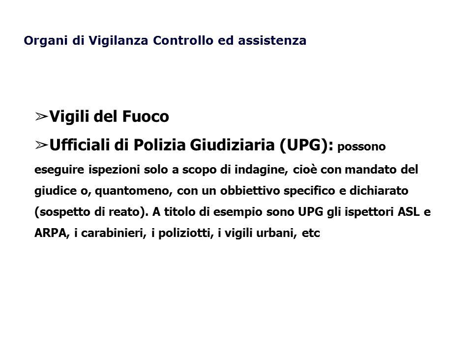 Organi di Vigilanza Controllo ed assistenza ➢ Vigili del Fuoco ➢ Ufficiali di Polizia Giudiziaria (UPG): possono eseguire ispezioni solo a scopo di in