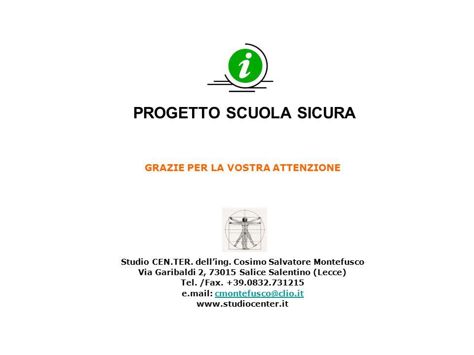 PROGETTO SCUOLA SICURA GRAZIE PER LA VOSTRA ATTENZIONE Studio CEN.TER. dell'ing. Cosimo Salvatore Montefusco Via Garibaldi 2, 73015 Salice Salentino (
