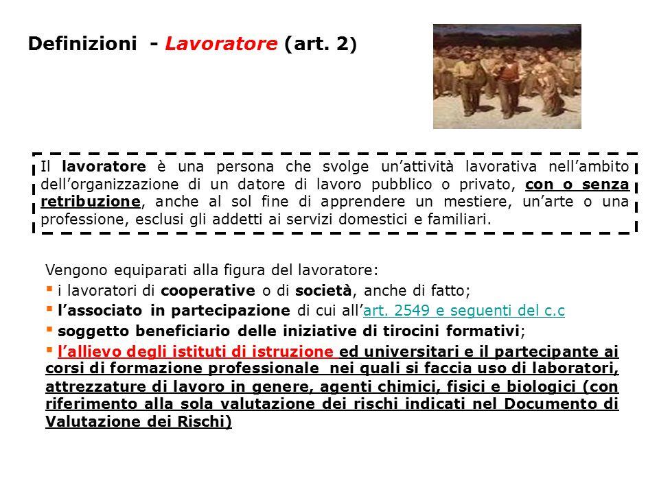 Definizioni - Lavoratore (art. 2 ) Il lavoratore è una persona che svolge un'attività lavorativa nell'ambito dell'organizzazione di un datore di lavor