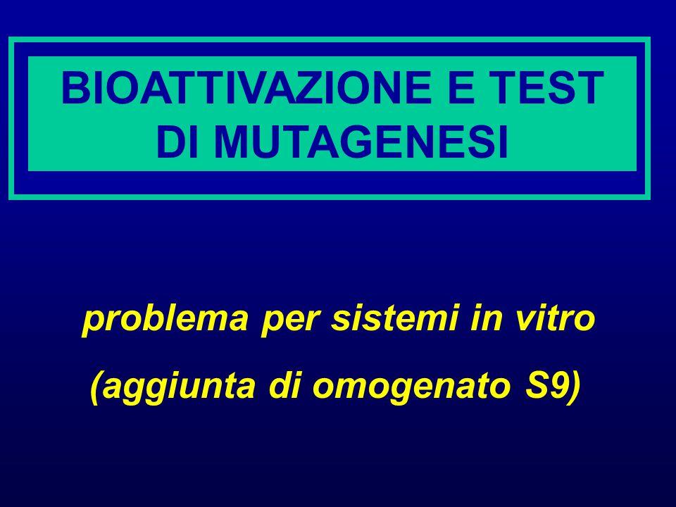 BIOATTIVAZIONE E TEST DI MUTAGENESI problema per sistemi in vitro (aggiunta di omogenato S9)