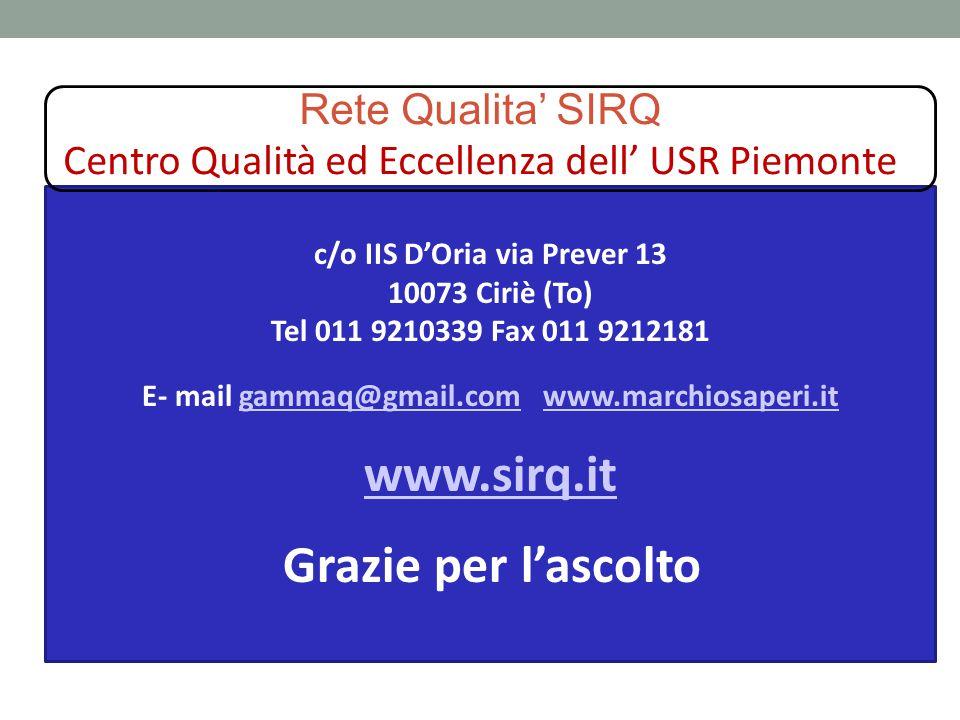 Rete Qualita' SIRQ Centro Qualità ed Eccellenza dell' USR Piemonte c/o IIS D'Oria via Prever 13 10073 Ciriè (To) Tel 011 9210339 Fax 011 9212181 E- ma