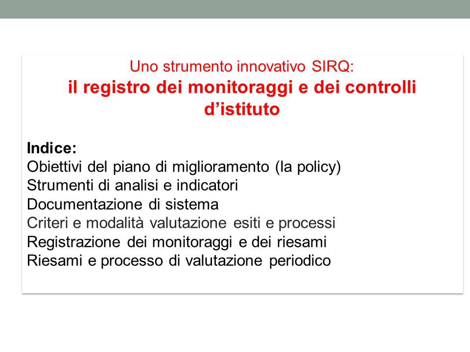 Uno strumento innovativo SIRQ: il registro dei monitoraggi e dei controlli d'istituto Indice: Obiettivi del piano di miglioramento (la policy) Strumen