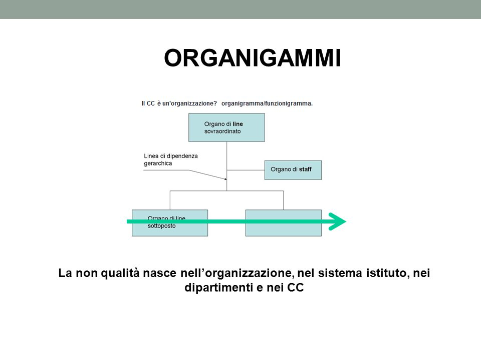 ORGANIGAMMI processi La non qualità nasce nell'organizzazione, nel sistema istituto, nei dipartimenti e nei CC