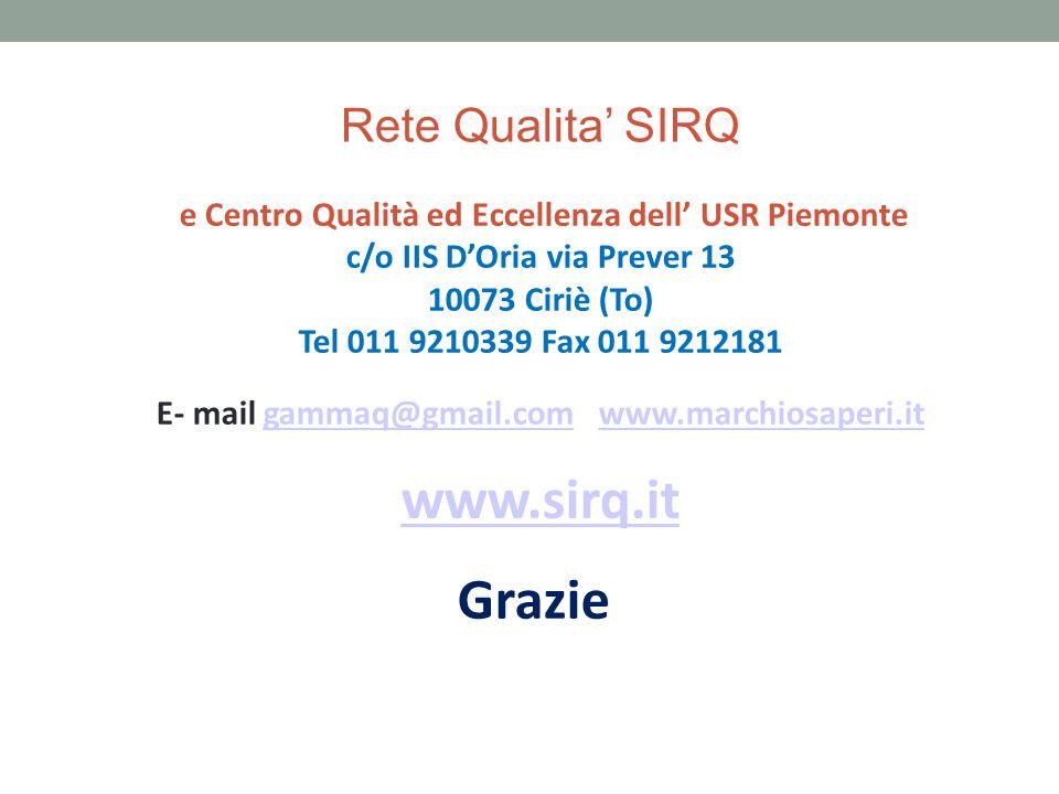 Rete Qualita' SIRQ e Centro Qualità ed Eccellenza dell' USR Piemonte c/o IIS D'Oria via Prever 13 10073 Ciriè (To) Tel 011 9210339 Fax 011 9212181 E-