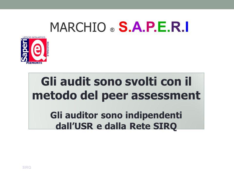 MARCHIO ® S.A.P.E.R.I Gli audit sono svolti con il metodo del peer assessment Gli auditor sono indipendenti dall'USR e dalla Rete SIRQ SIRQ