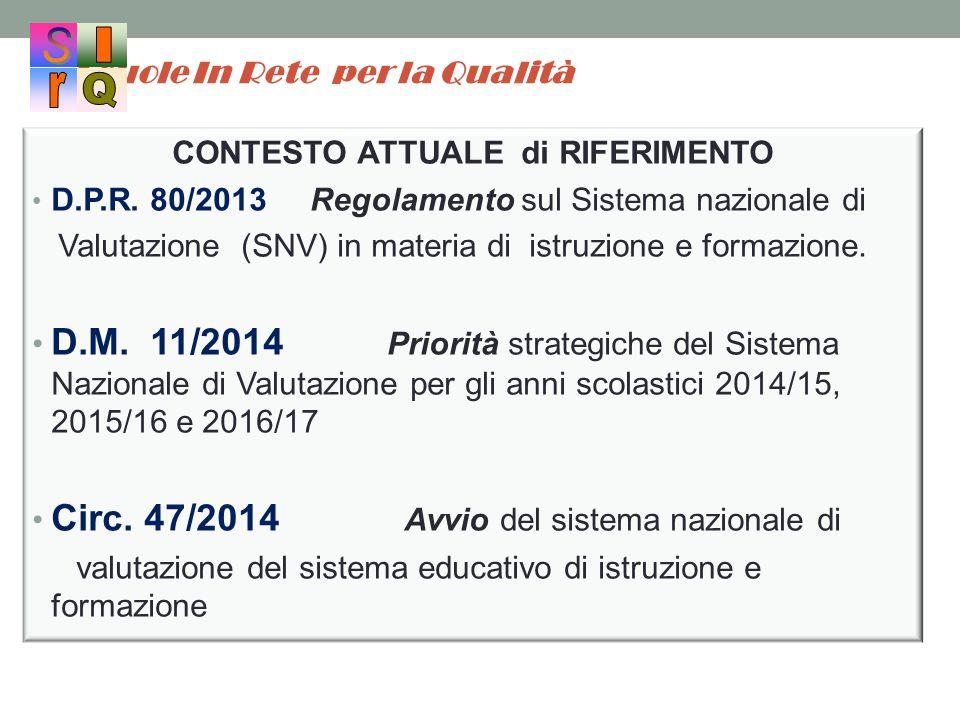 Scuole In Rete per la Qualità CONTESTO ATTUALE di RIFERIMENTO D.P.R. 80/2013 Regolamento sul Sistema nazionale di Valutazione (SNV) in materia di istr
