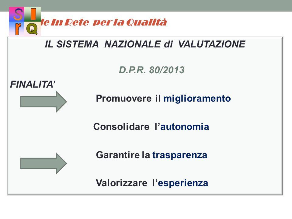 Scuole In Rete per la Qualità IL SISTEMA NAZIONALE di VALUTAZIONE D.P.R. 80/2013 FINALITA' Promuovere il miglioramento Consolidare l'autonomia Garanti