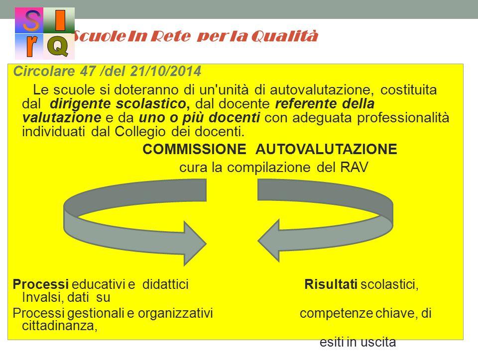 Scuole In Rete per la Qualità Circolare 47 /del 21/10/2014 Le scuole si doteranno di un'unità di autovalutazione, costituita dal dirigente scolastico,