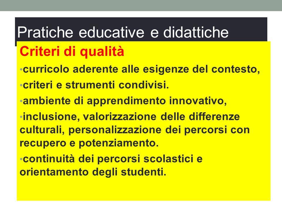 Pratiche educative e didattiche Criteri di qualità curricolo aderente alle esigenze del contesto, criteri e strumenti condivisi. ambiente di apprendim