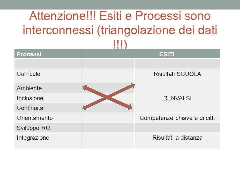 Attenzione!!! Esiti e Processi sono interconnessi (triangolazione dei dati !!!) Processi ESITI CurriculoRisultati SCUOLA Ambiente InclusioneR INVALSI