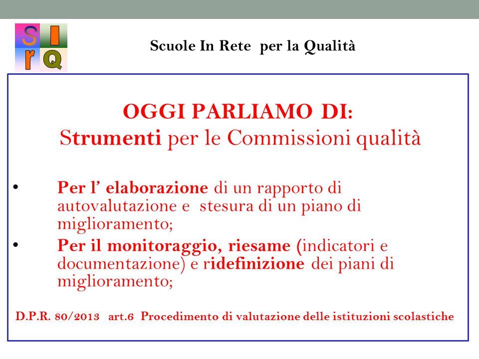 Scuole In Rete per la Qualità OGGI PARLIAMO DI: S trumenti per le Commissioni qualità Per l' elaborazione di un rapporto di autovalutazione e stesura