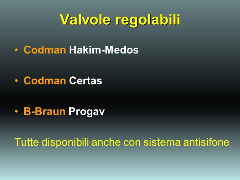 Valvole regolabili Codman Hakim-Medos Codman Certas B-Braun Progav Tutte disponibili anche con sistema antisifone
