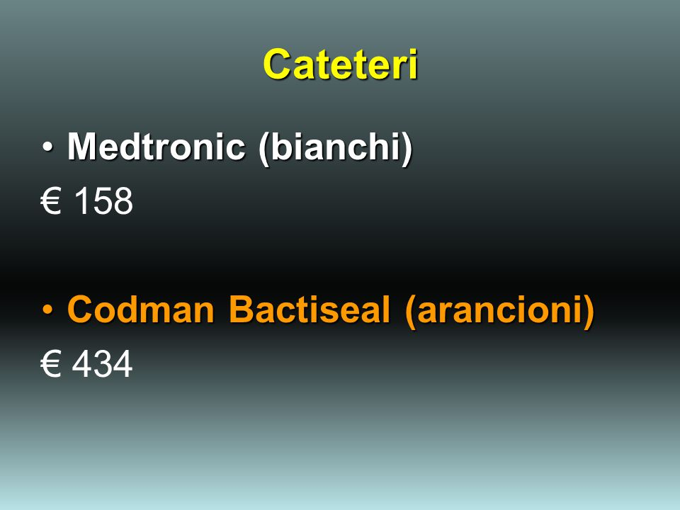 Cateteri Medtronic (bianchi)Medtronic (bianchi) € 158 Codman Bactiseal (arancioni)Codman Bactiseal (arancioni) € 434