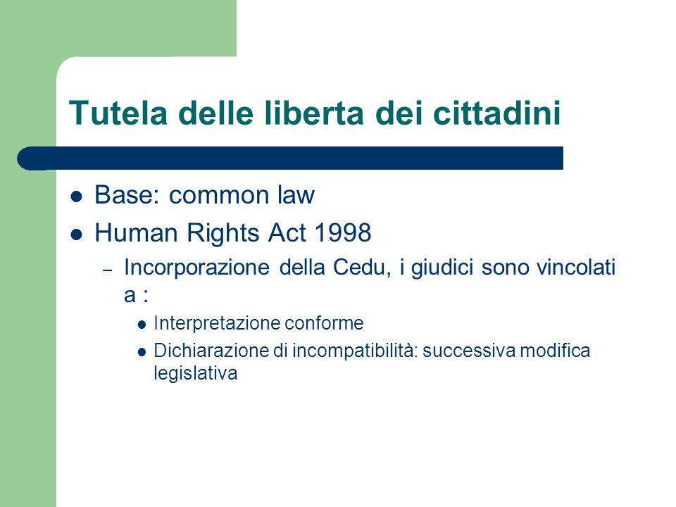 Tutela delle liberta dei cittadini Base: common law Human Rights Act 1998 – Incorporazione della Cedu, i giudici sono vincolati a : Interpretazione co