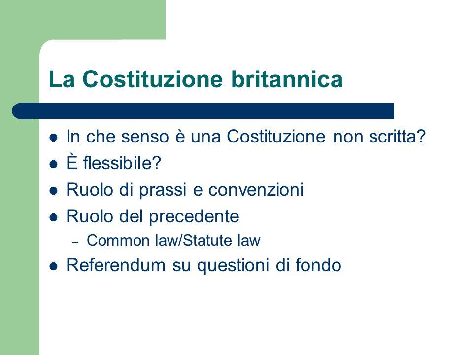 La Costituzione britannica In che senso è una Costituzione non scritta? È flessibile? Ruolo di prassi e convenzioni Ruolo del precedente – Common law/