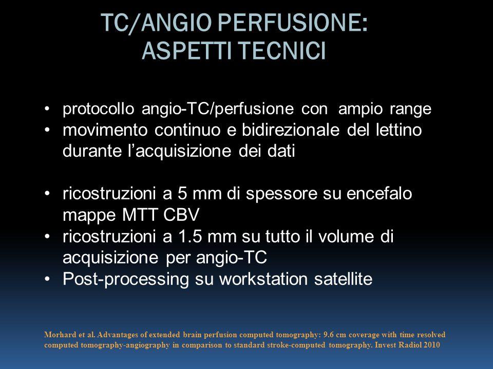 protocollo angio-TC/perfusione con ampio range movimento continuo e bidirezionale del lettino durante l'acquisizione dei dati ricostruzioni a 5 mm di spessore su encefalo mappe MTT CBV ricostruzioni a 1.5 mm su tutto il volume di acquisizione per angio-TC Post-processing su workstation satellite Morhard et al.