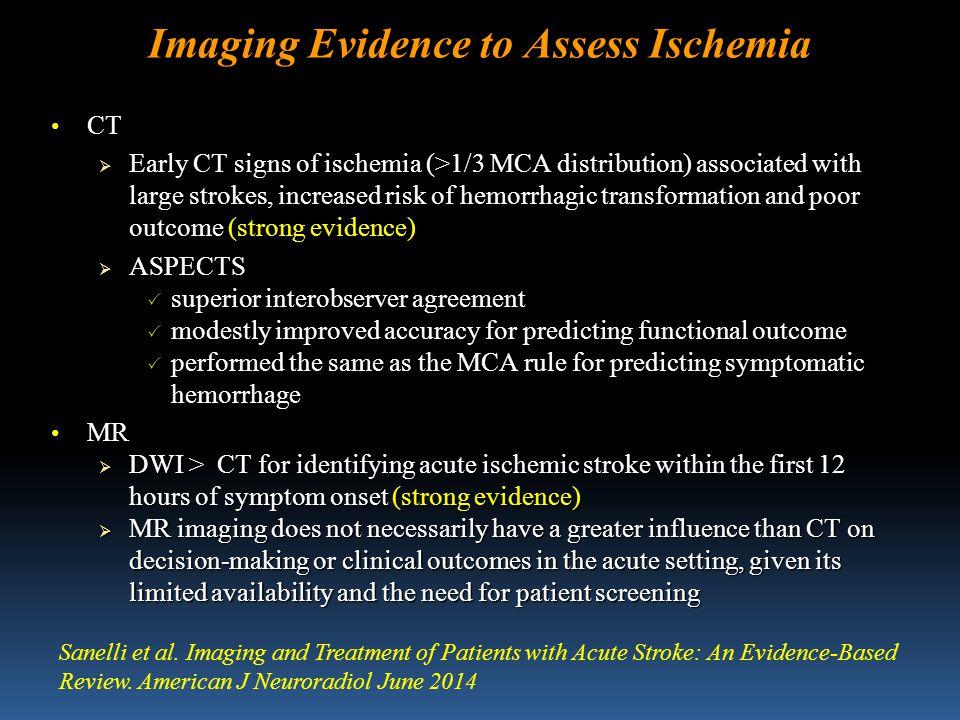 NEUROIMAGING OF ACUTE ISCHEMIC STROKE Baseline CT + NIHSS non è più uno standard accettabile nei trials clinici Baseline CT + NIHSS non è più uno standard accettabile nei trials clinici La tecnologia attuale consente una rapida esecuzione di angio-TC (CTA) e TC-perfusione (CTP) con bassi livelli di irradiazione e quantità di mdc somministrata La tecnologia attuale consente una rapida esecuzione di angio-TC (CTA) e TC-perfusione (CTP) con bassi livelli di irradiazione e quantità di mdc somministrata Imaging core/penombra con CTP o PWI/DWI MRI in pazienti candidati a terapia venosa/endovascolare Imaging core/penombra con CTP o PWI/DWI MRI in pazienti candidati a terapia venosa/endovascolare Selezione dei Pz oltre la finestra terapeutica IV Selezione dei Pz oltre la finestra terapeutica IV