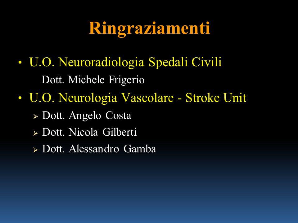 Ringraziamenti U.O. Neuroradiologia Spedali Civili U.O. Neuroradiologia Spedali Civili Dott. Michele Frigerio Dott. Michele Frigerio U.O. Neurologia V