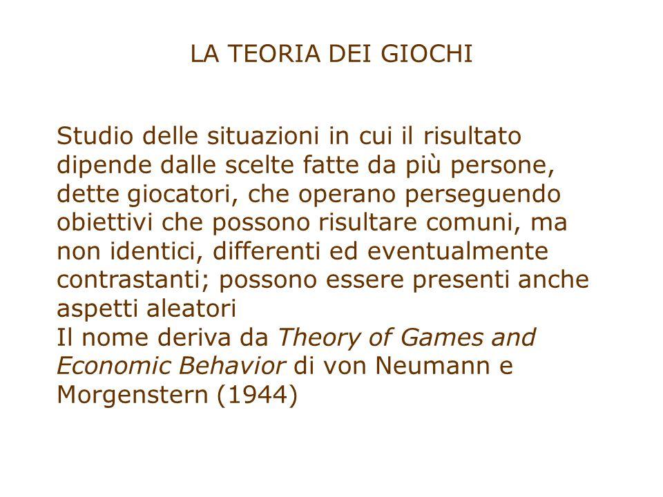 L'EQUILIBRIO DI NASH (1950) Un insieme di scelte costituisce un equilibrio, o è in equilibrio, se nessun giocatore ha interesse ad essere l'unico che cambia la sua scelta (equilibrio economico generale)