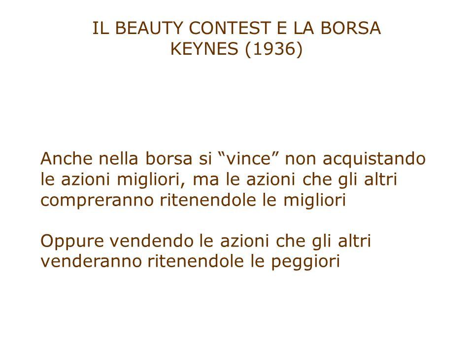 """IL BEAUTY CONTEST E LA BORSA KEYNES (1936) Anche nella borsa si """"vince"""" non acquistando le azioni migliori, ma le azioni che gli altri compreranno rit"""