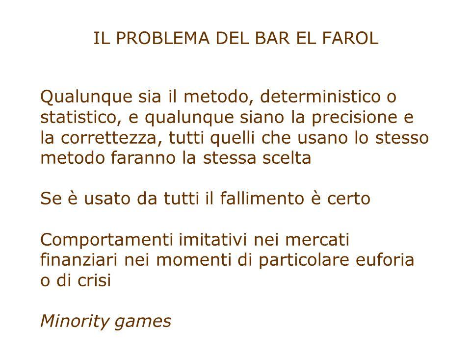 IL PROBLEMA DEL BAR EL FAROL Qualunque sia il metodo, deterministico o statistico, e qualunque siano la precisione e la correttezza, tutti quelli che