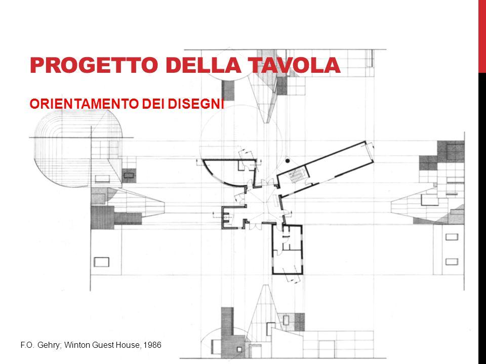 PROGETTO DELLA TAVOLA ORIENTAMENTO DEI DISEGNI F.O. Gehry; Winton Guest House, 1986