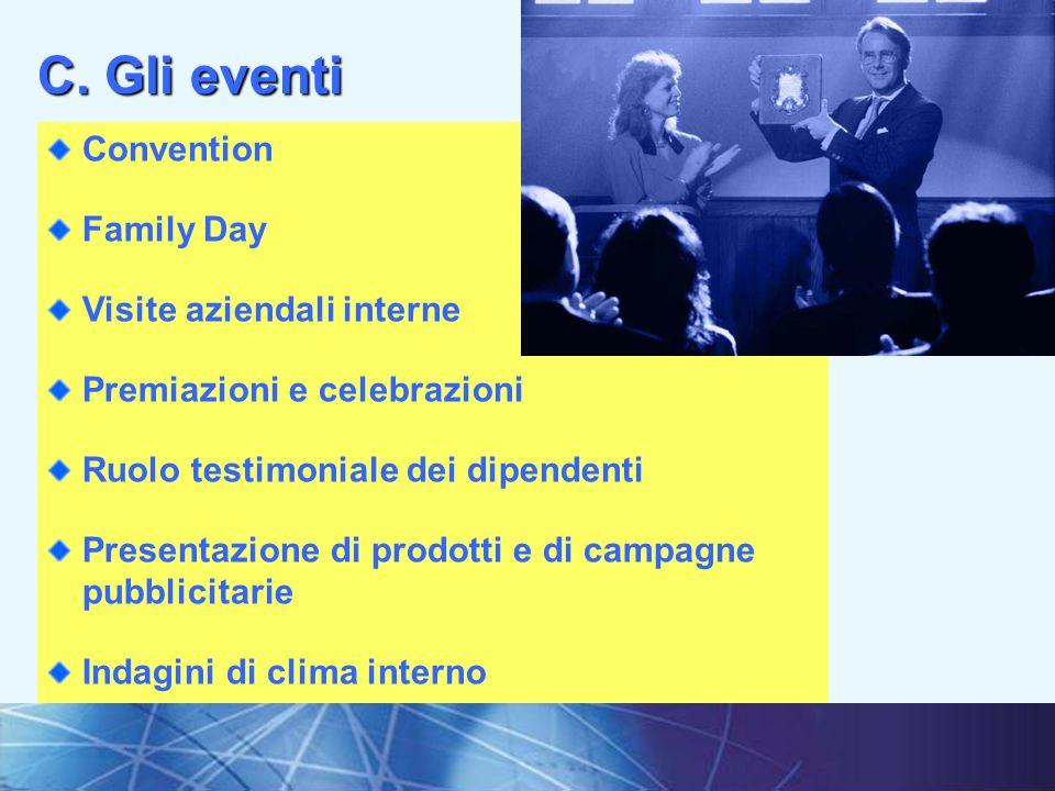 14I fondamenti della comunicazione interna Convention Family Day Visite aziendali interne Premiazioni e celebrazioni Ruolo testimoniale dei dipendenti Presentazione di prodotti e di campagne pubblicitarie Indagini di clima interno C.