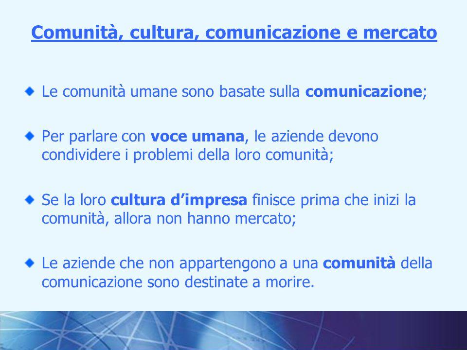 4I fondamenti della comunicazione interna Le comunità umane sono basate sulla comunicazione; Per parlare con voce umana, le aziende devono condividere i problemi della loro comunità; Se la loro cultura d'impresa finisce prima che inizi la comunità, allora non hanno mercato; Le aziende che non appartengono a una comunità della comunicazione sono destinate a morire.