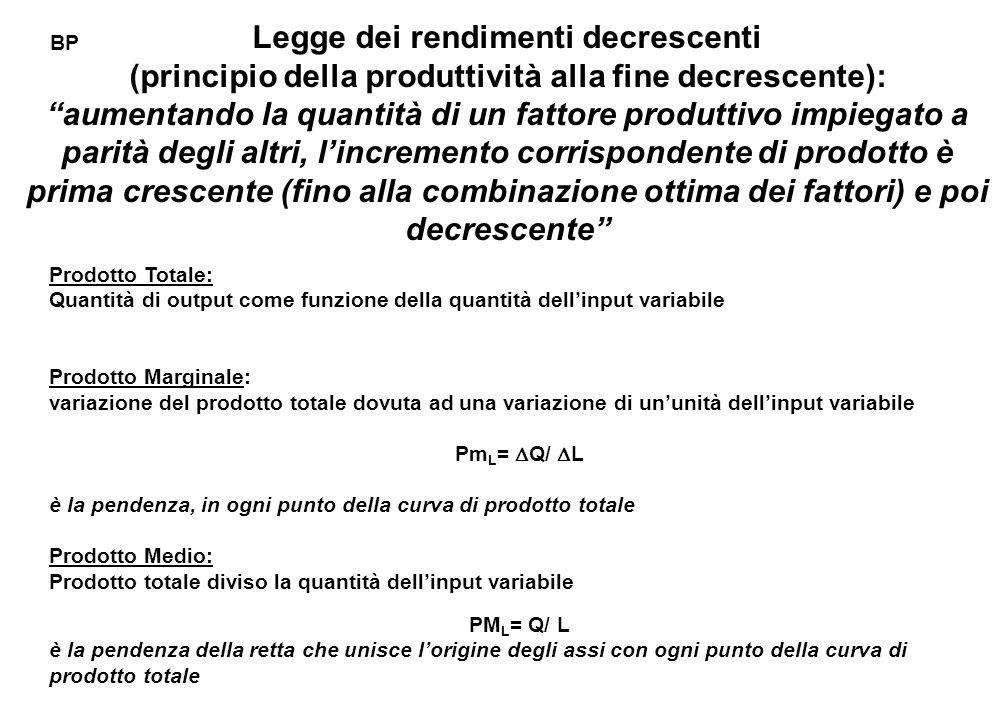 """Legge dei rendimenti decrescenti (principio della produttività alla fine decrescente): """"aumentando la quantità di un fattore produttivo impiegato a pa"""