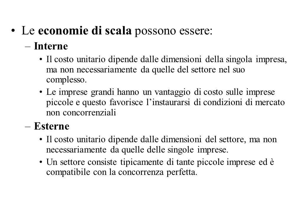 Le economie di scala possono essere: –Interne Il costo unitario dipende dalle dimensioni della singola impresa, ma non necessariamente da quelle del s