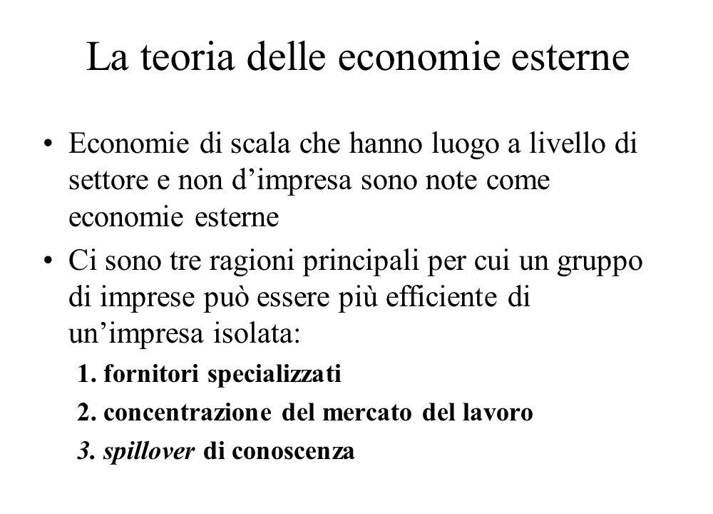 La teoria delle economie esterne Economie di scala che hanno luogo a livello di settore e non d'impresa sono note come economie esterne Ci sono tre ra