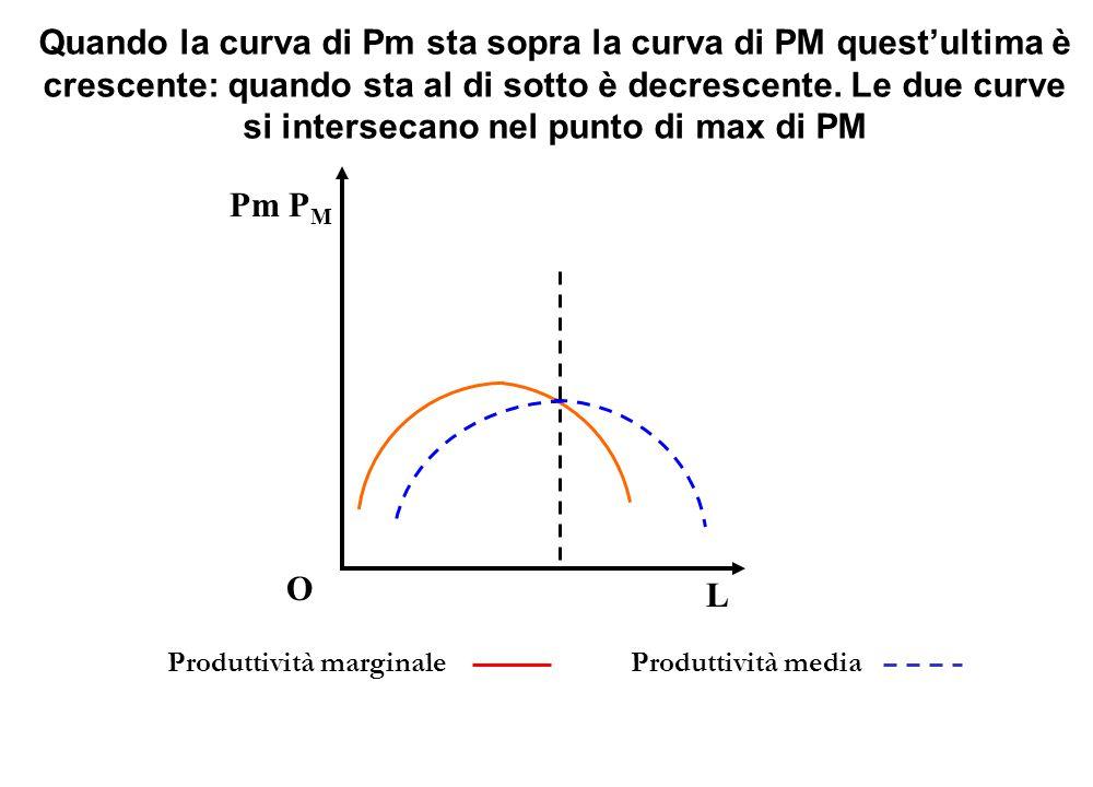Pm P M O L Produttività marginale Produttività media Quando la curva di Pm sta sopra la curva di PM quest'ultima è crescente: quando sta al di sotto è