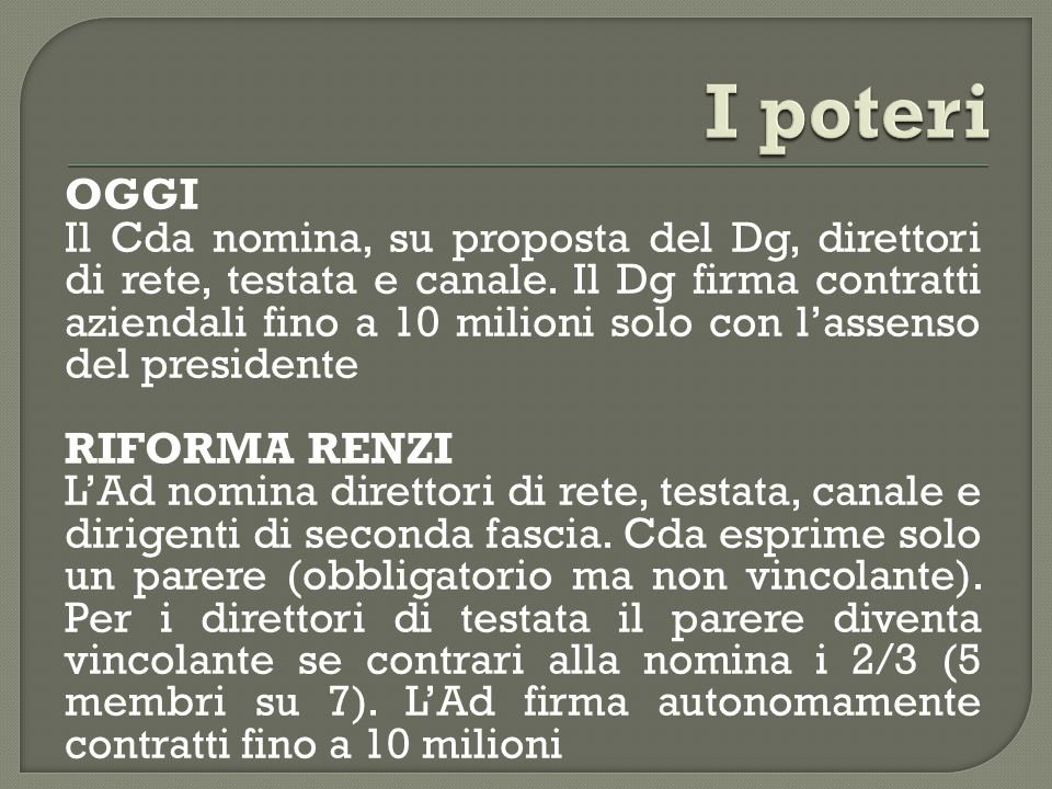 OGGI Il Cda nomina, su proposta del Dg, direttori di rete, testata e canale.