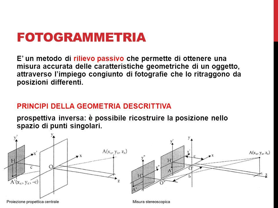 FOTOGRAMMETRIA E' un metodo di rilievo passivo che permette di ottenere una misura accurata delle caratteristiche geometriche di un oggetto, attravers