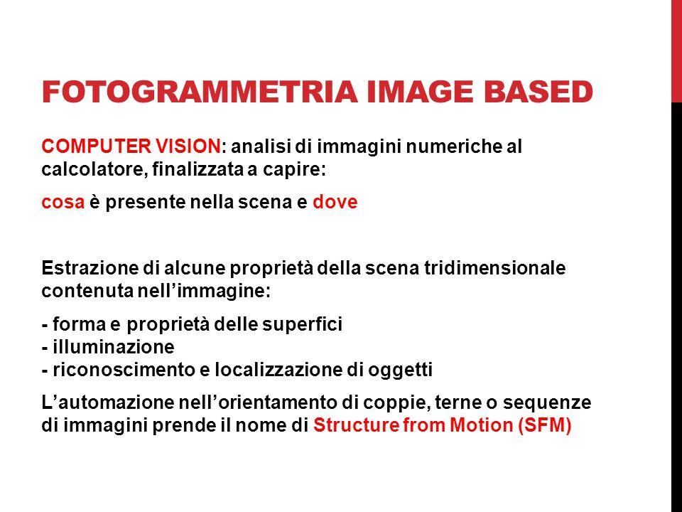 FOTOGRAMMETRIA IMAGE BASED COMPUTER VISION: analisi di immagini numeriche al calcolatore, finalizzata a capire: cosa è presente nella scena e dove Es