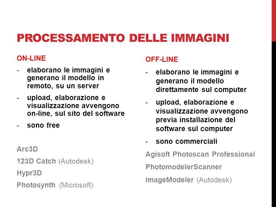 PROCESSAMENTO DELLE IMMAGINI ON-LINE -elaborano le immagini e generano il modello in remoto, su un server -upload, elaborazione e visualizzazione avve