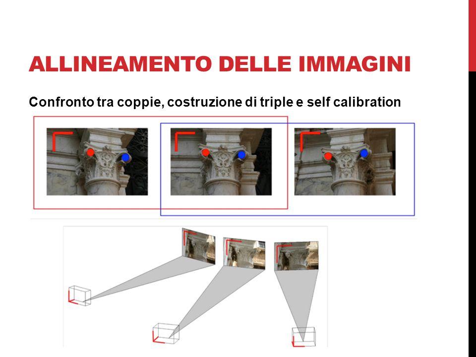ALLINEAMENTO DELLE IMMAGINI Confronto tra coppie, costruzione di triple e self calibration