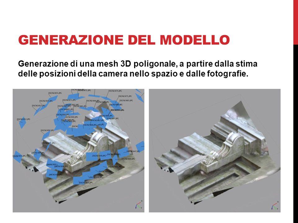 GENERAZIONE DEL MODELLO Generazione di una mesh 3D poligonale, a partire dalla stima delle posizioni della camera nello spazio e dalle fotografie.