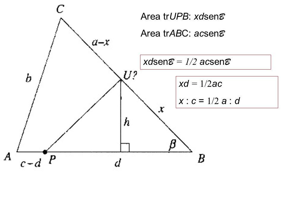 Dato un triangolo ABC, costruire un retta passante per un P appartenente ad AB e che divide il triangolo in due parti di uguale area A B C P