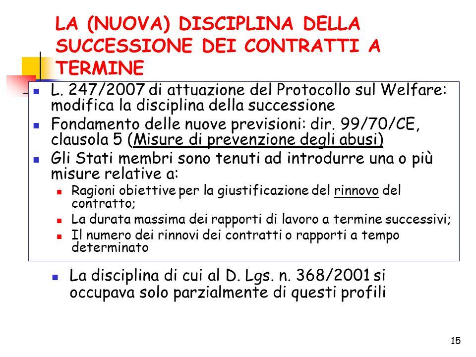 15 LA (NUOVA) DISCIPLINA DELLA SUCCESSIONE DEI CONTRATTI A TERMINE L. 247/2007 di attuazione del Protocollo sul Welfare: modifica la disciplina della