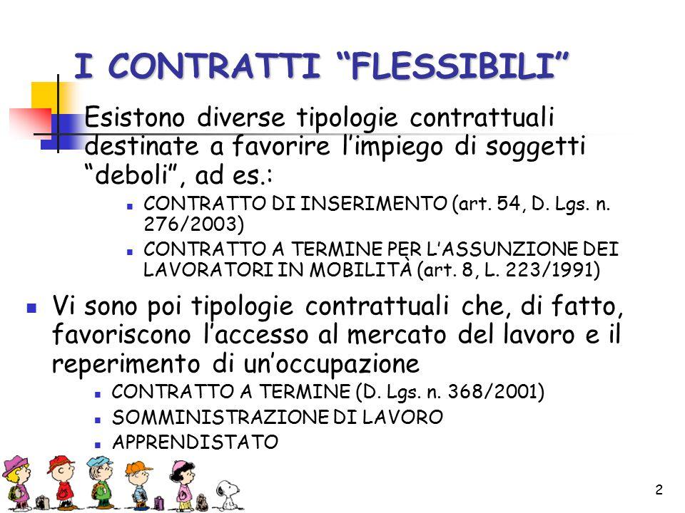 2 I CONTRATTI FLESSIBILI Esistono diverse tipologie contrattuali destinate a favorire l'impiego di soggetti deboli , ad es.: CONTRATTO DI INSERIMENTO (art.