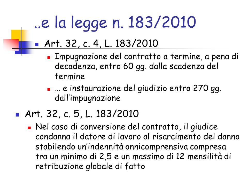 ..e la legge n. 183/2010 Art. 32, c. 4, L. 183/2010 Impugnazione del contratto a termine, a pena di decadenza, entro 60 gg. dalla scadenza del termine