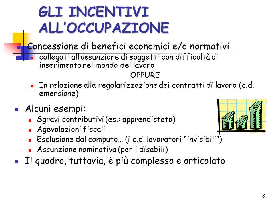 3 GLI INCENTIVI ALL'OCCUPAZIONE Concessione di benefici economici e/o normativi collegati all'assunzione di soggetti con difficoltà di inserimento nel