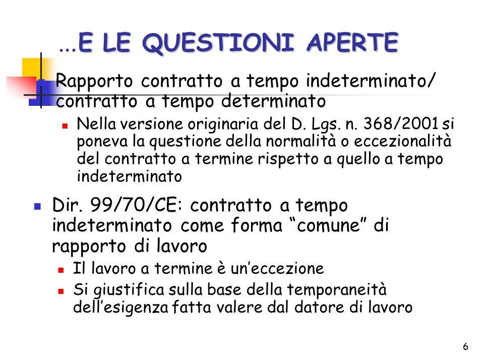6 E LE QUESTIONI APERTE … E LE QUESTIONI APERTE Rapporto contratto a tempo indeterminato/ contratto a tempo determinato Nella versione originaria del D.