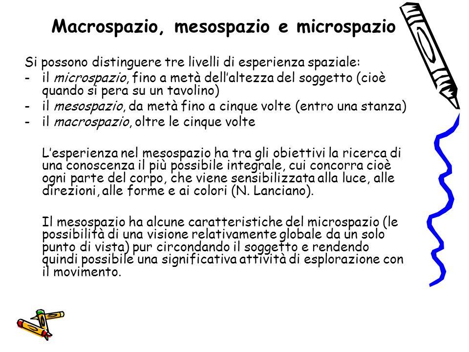 Macrospazio, mesospazio e microspazio Si possono distinguere tre livelli di esperienza spaziale: -il microspazio, fino a metà dell'altezza del soggett