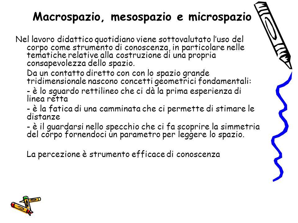 Macrospazio, mesospazio e microspazio Nel lavoro didattico quotidiano viene sottovalutato l'uso del corpo come strumento di conoscenza, in particolare