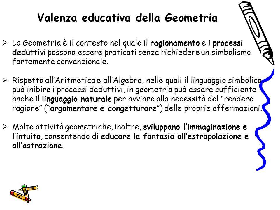 Valenza educativa della Geometria  La Geometria è il contesto nel quale il ragionamento e i processi deduttivi possono essere praticati senza richied